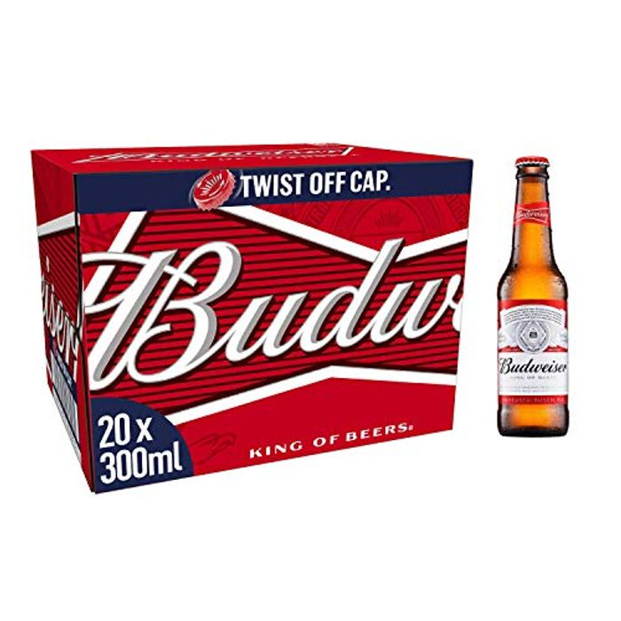 Budweiser Lager Beer Bottles, 20 X 300ml (Use Voucher at Amazon)