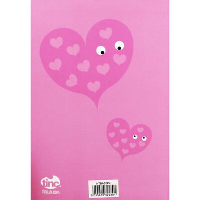 Tinc A5 Pink Heart Lined Notebook