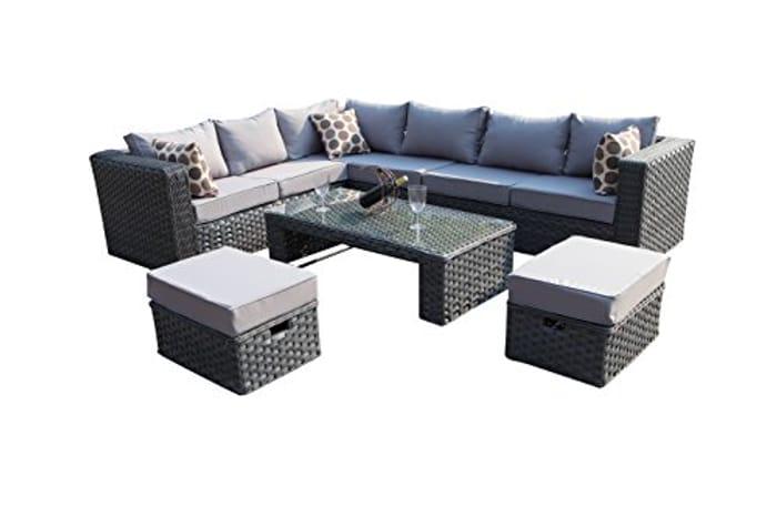 YAKOE 9 Seater Rattan Corner Garden Sofa Furniture Set - Grey