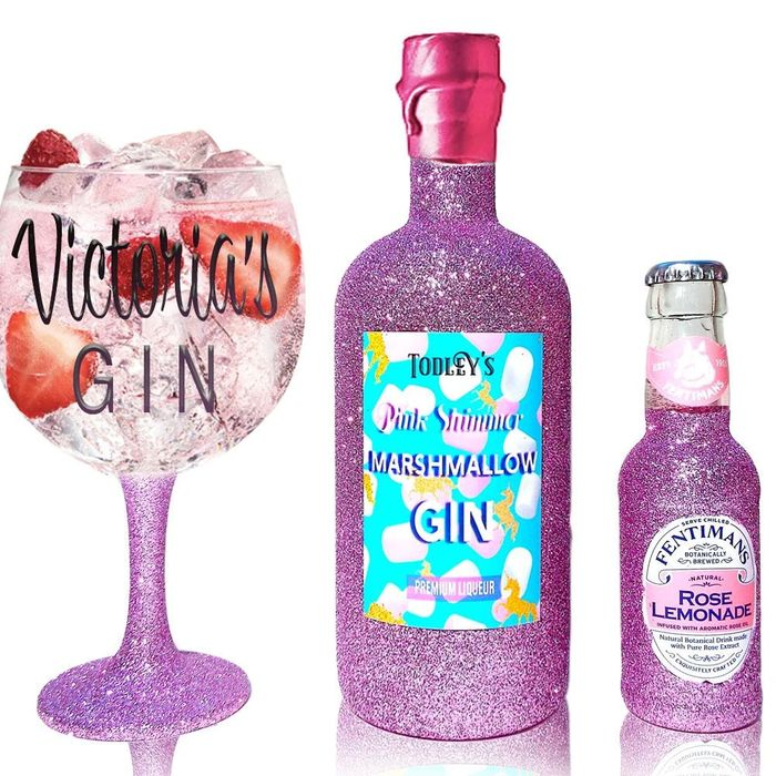 Marshmallow Unicorn Shimmer Liqueur Glitter Gin Gift Set 50cl