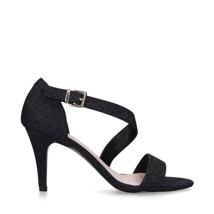 Carvela - Black 'Kind' Glitter Heeled Sandals