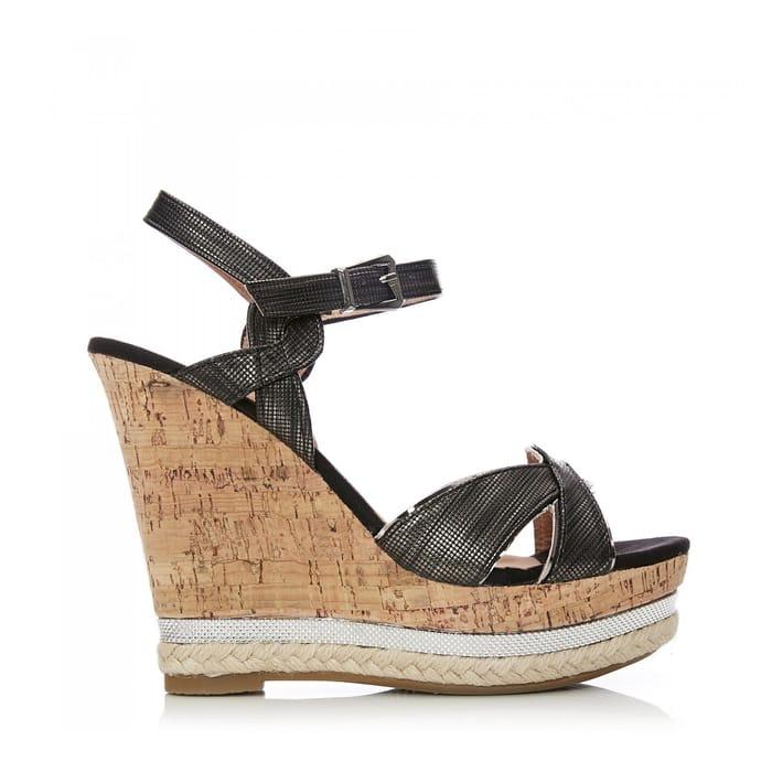 Moda in Pelle - Black 'Wynona' High Wedge Heel Sandals
