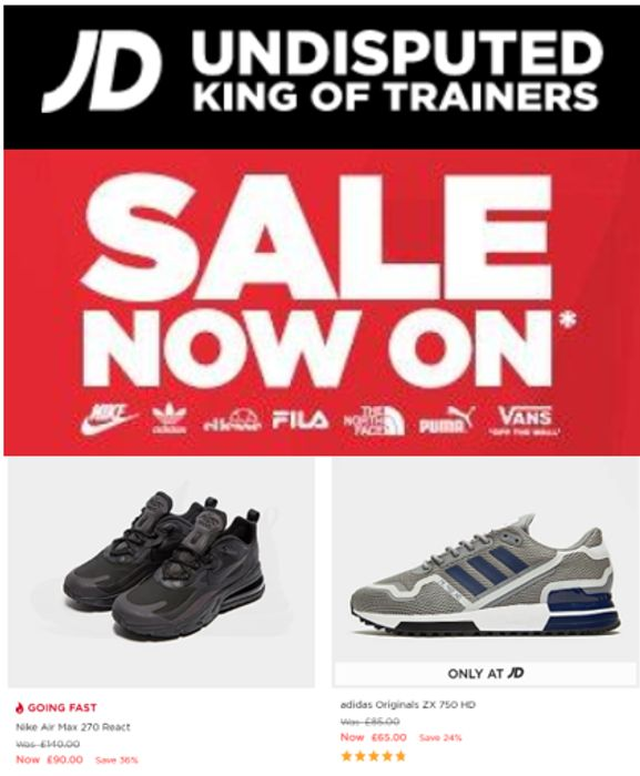 Special Offer - JD SPORTS SALE - ON NOW