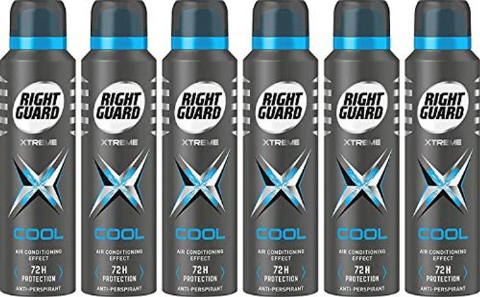 Right Guard Mens Deodorant, Xtreme Cool 72 Hours Spray 6 X 150 Ml