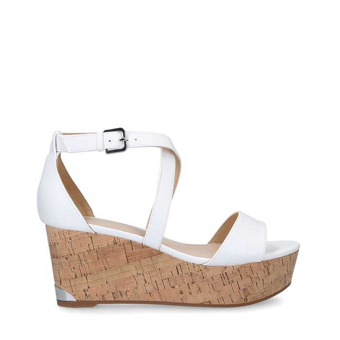 Nine West - White 'Violet' Wedge Heel Sandals