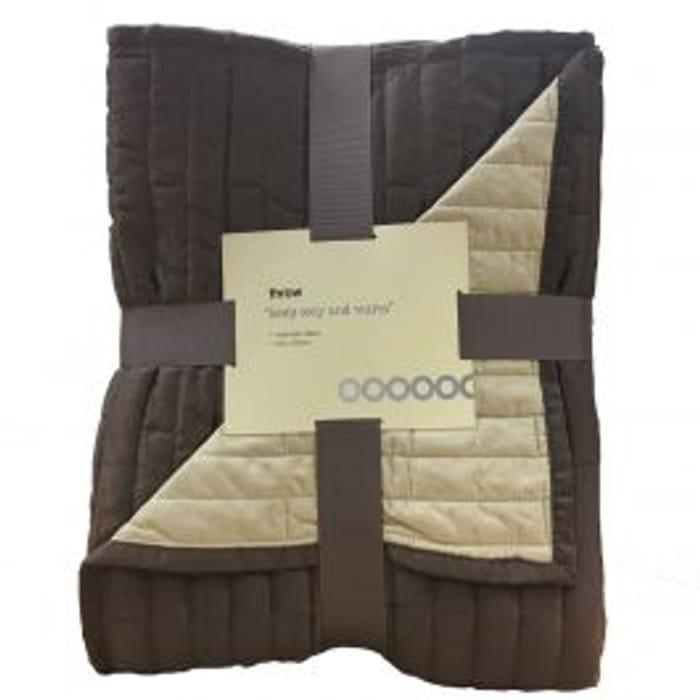 Soft Fleece/Satin Throw - Chocolate/Caramel
