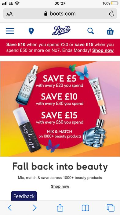 Save at Boots - £5 off £20 £10 off £40 and £15 off £60 Spend