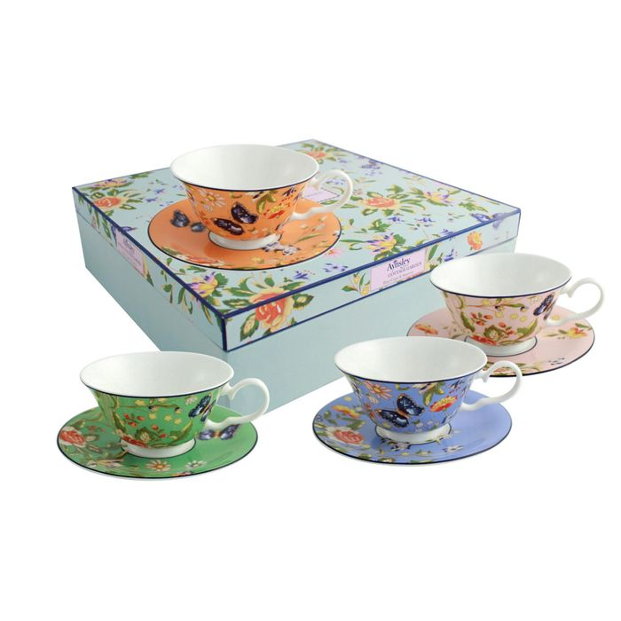 Aynsley China 4 Windsor Tea Cups & Saucers