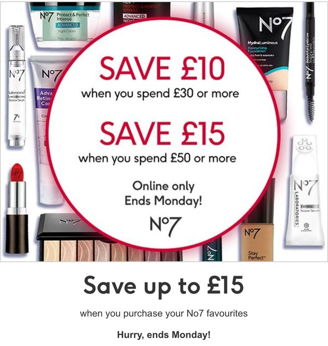 Save £10 When You Spend £30, save £15 Spend £50 No7 Save £3 Code SAVE3ONLINE