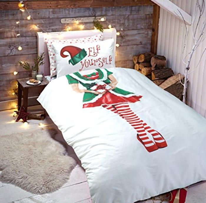 Elf Christmas Xmas Duvet Quilt Cover & Pillowcase Elf Duvet Set (Girls - Single)