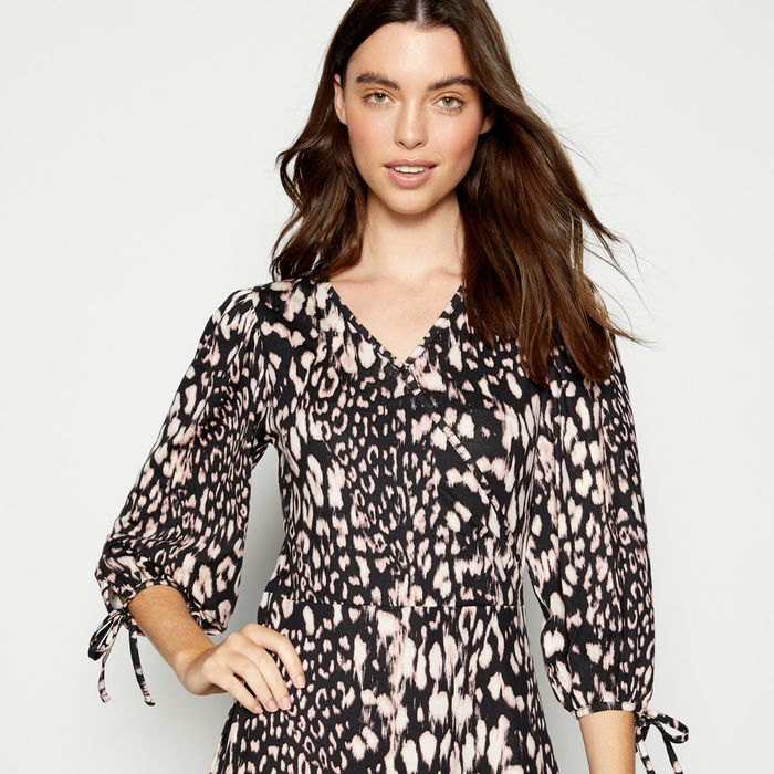 Principles - Pale Pink Striped Leopard Print Knee Length Dress