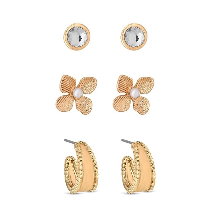 3 Pack Rose Gold Plated Crystal Flower Earrings