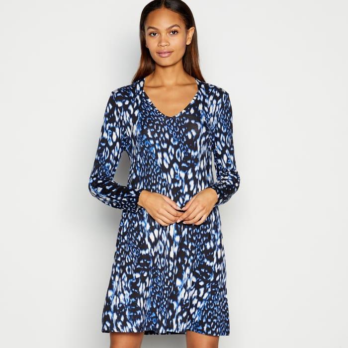 Principles - Blue Animal Print Tie Neck Jersey Mini Dress