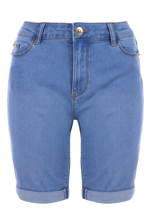 Womens Blue Long Length Denim Shorts