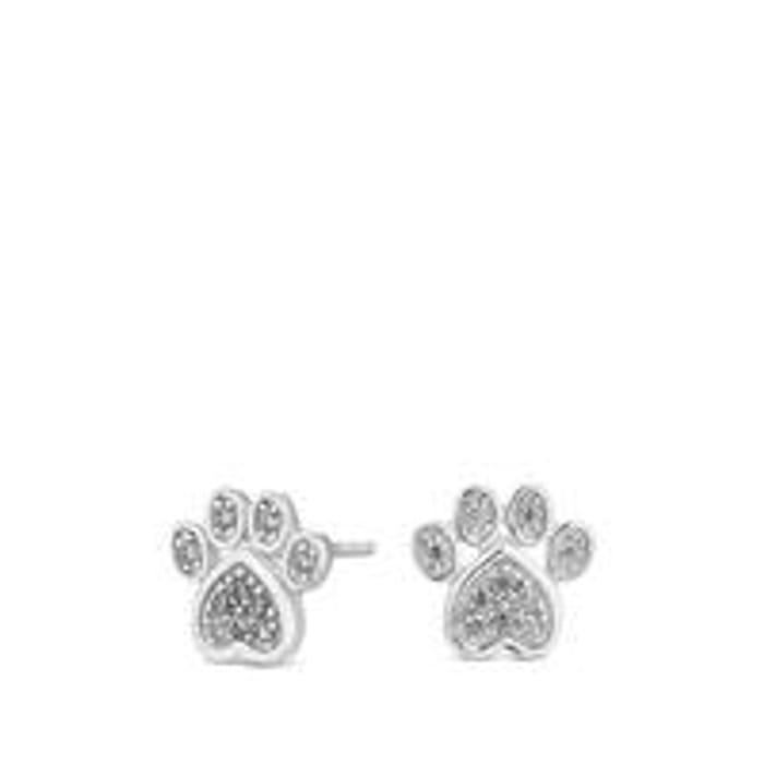 Simply Silver Cubic Zirconia Paw Print Stud Earrings