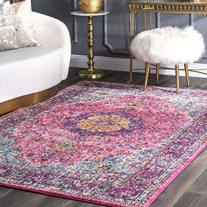 nuLOOM RZBD07D Vintage Persian Verona Area Rug, 152 X 226 Cm, Pink