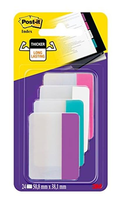 Post-It 686-PWAV Index Strong Filing Tabs, Pink, White, Cyan, Purple, 51 X 38 Mm