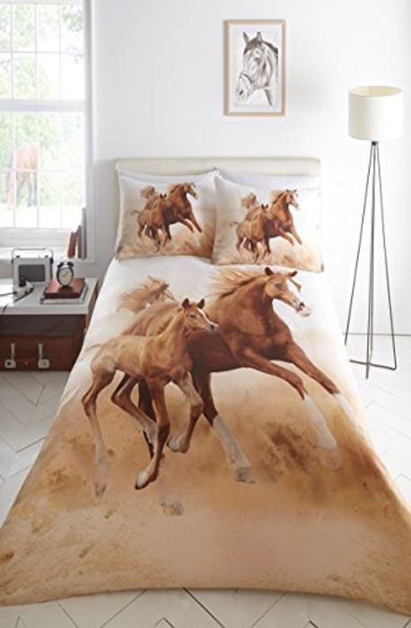 Double Bed Duvet Cover Set Gallopping Horses Polyester
