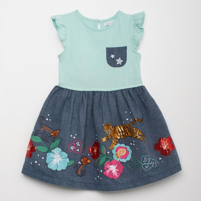 Baby Girls' Multicoloured Short Sleeve Embroidery and Sequin Pattern Woven Dress