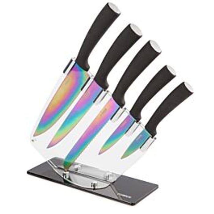 Tower Titanium Knife Block Set - Black & Multicoloured