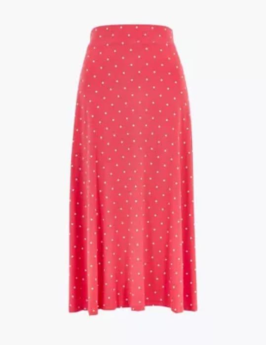 Jersey Polka Dot Midi Fit & Flare Skirt
