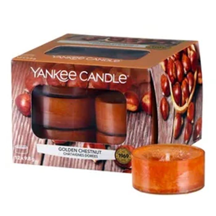 Yankee Home Inspiration Tea Lights Golden Chestnut 12 Pack