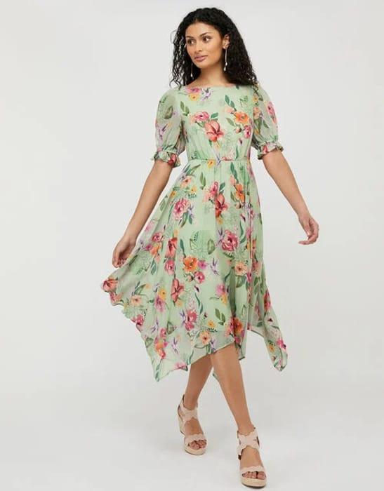 Hermione Floral Hanky Hem Tea Dress Green - Only £29.50!
