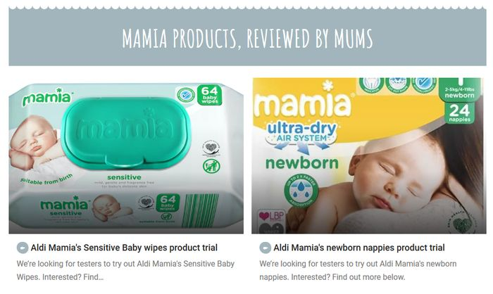 Aldi Mamia's Sensitive Baby Wipes and Newborn Nappies Product Trial