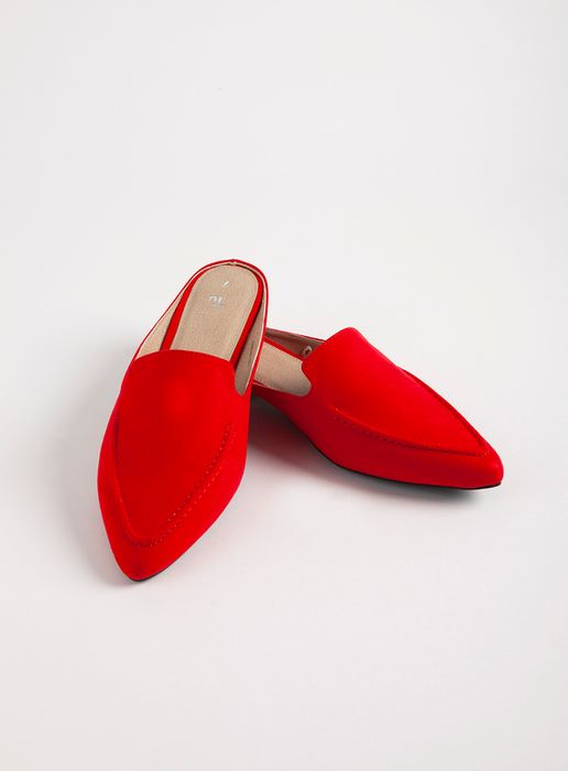 Red Faux Suede Pointed Mule