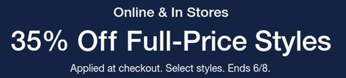 GAP -Online & in Stores 35 % off Full-Price Styles