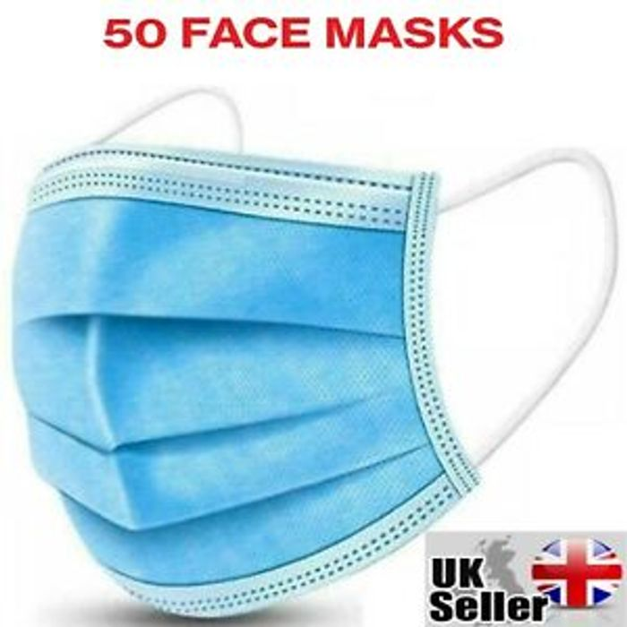 50 Disposable 3 Ply Face Masks - £5.49 Delivered / 11p Each