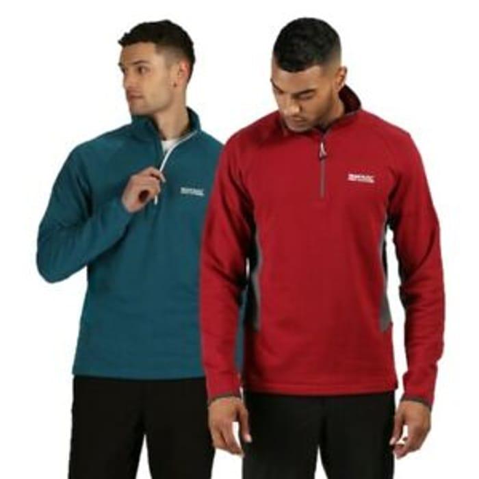 Regatta Mens Highton Half Zip Overhead Fleece Top Red Green