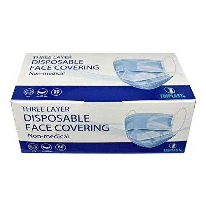 Triplast Disposable 3 Ply Face Masks | Pack of 50