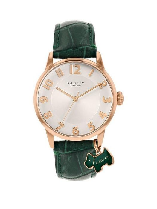 CHEAP!! Radley White and Rose Gold Detail Dial Green Leather Strap Ladies Watch