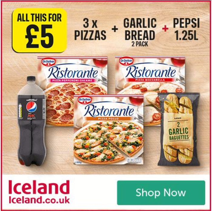 Meal Deal - 3 Dr Oetker Pizzas, 2 Garlic Breads & 1.25 Litre Pepsi