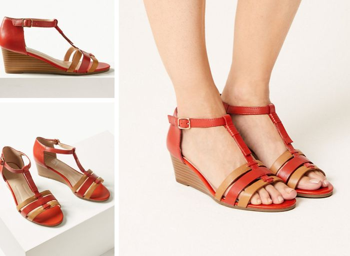 Wide Fit Leather Wedge Sandals - Save £23