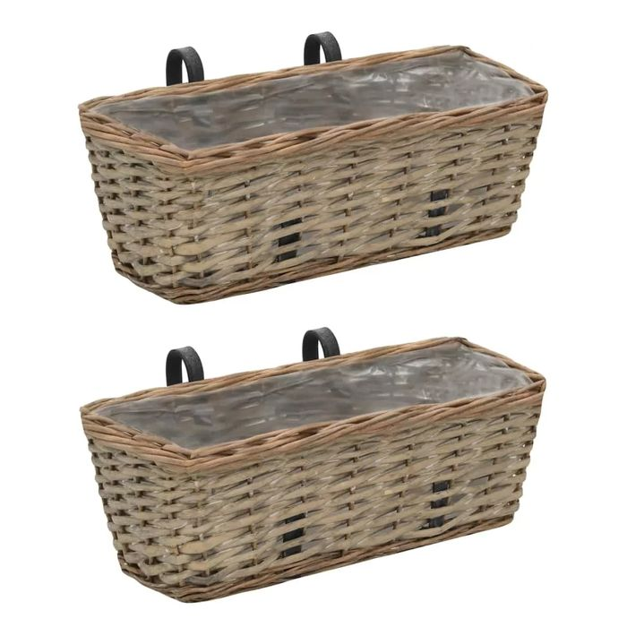 Two Rattan Wall Planters