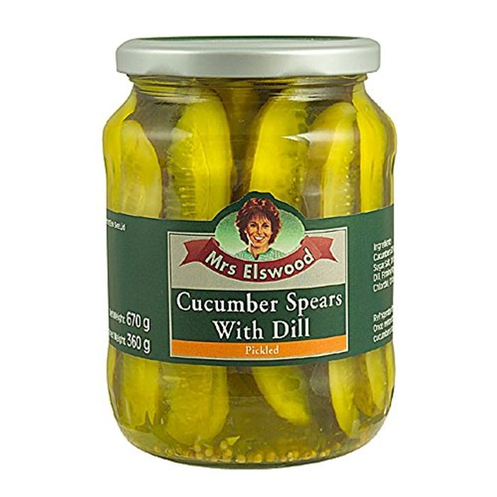 Mrs Elswood Pickled Cucumber Spears with Dill, 670g