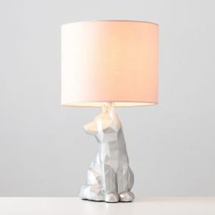Vixen Geometric Silver Table Lamp with Pink Reni Shade