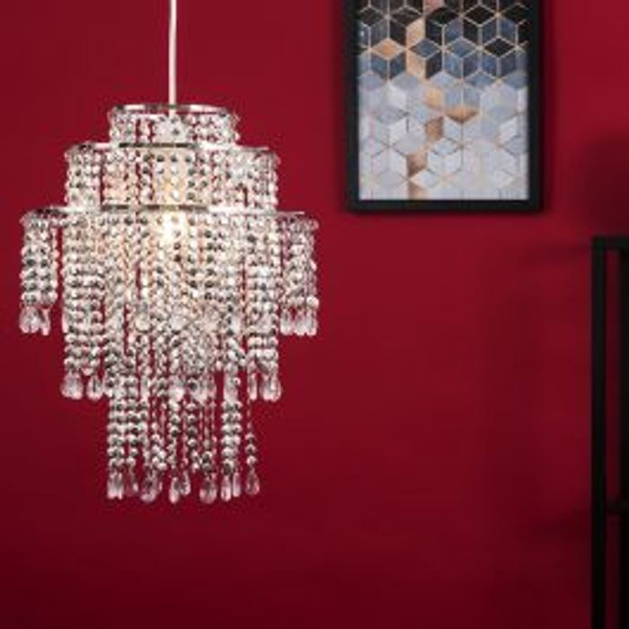 Estelle 3 Tier Chrome and Clear Beaded Pendant Shade