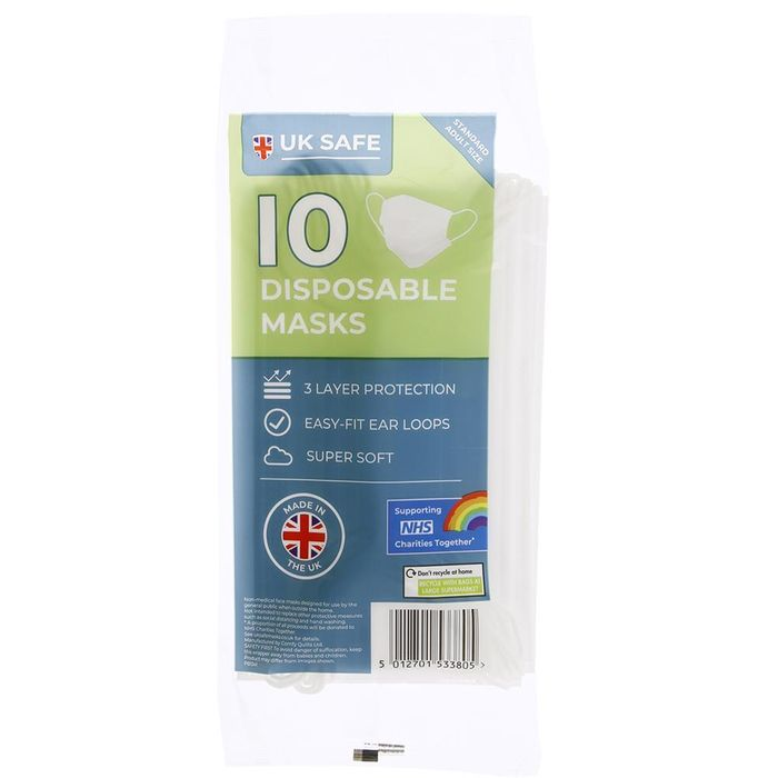 UK Safe 10 Disposable Masks