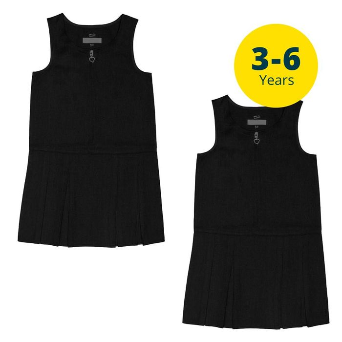 Back to School 2 Pack Black Pinafores