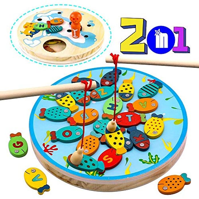 Wooden Fishing Toys with Magentic Alphabet