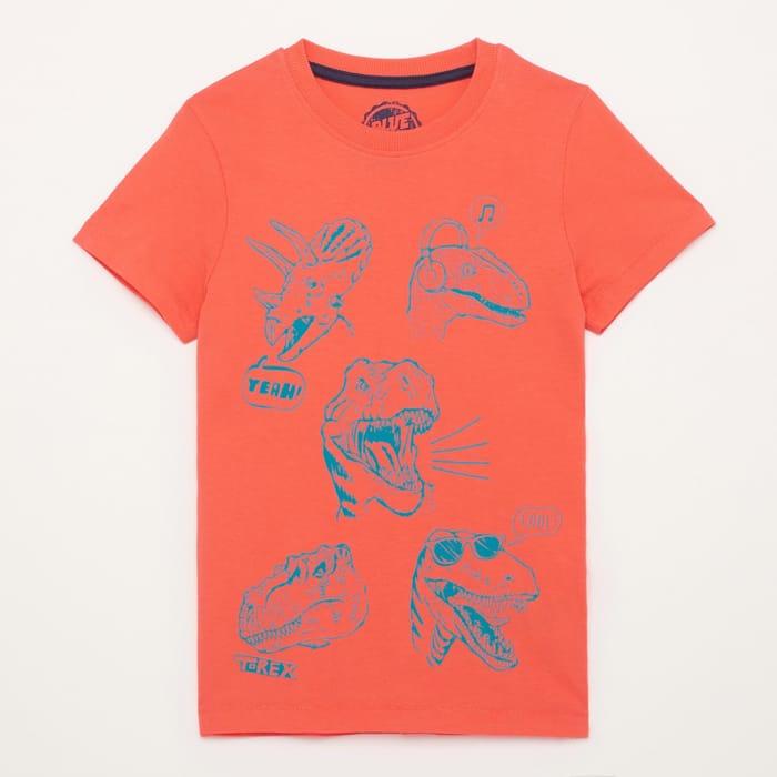Boys' Orange Dinosaur Heads Cotton Short Sleeves T-Shirt