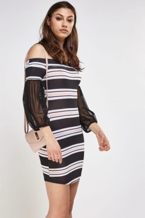 Mesh Sleeve Striped off Shoulder Dress