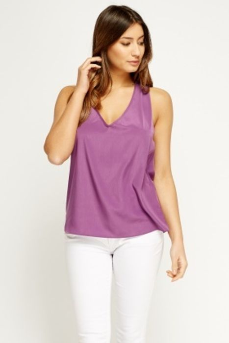 Detailed Back Satin Top - Only £1!