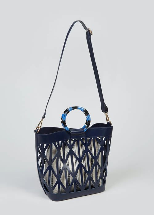 Navy Cut out Tote Bag Down From £16 to £4