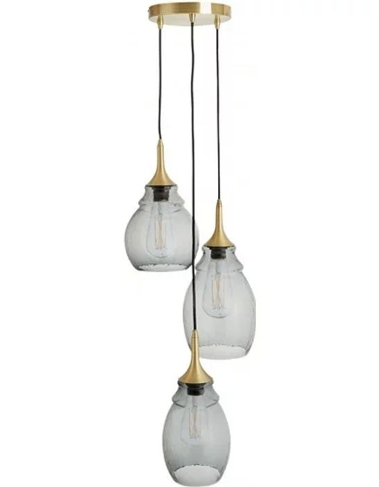 Cinders Tinted Glass Triple Drop Ceiling Light