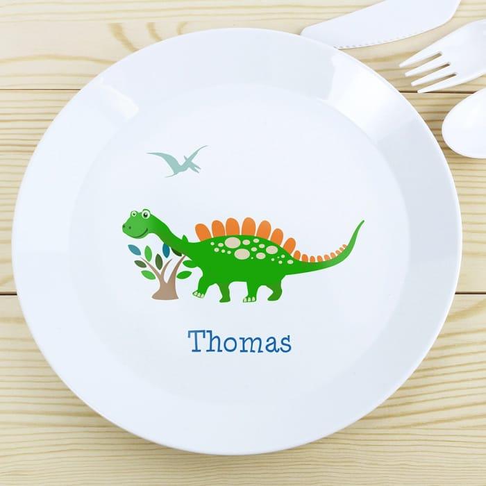 Personalised Dinosaur Plastic Plate
