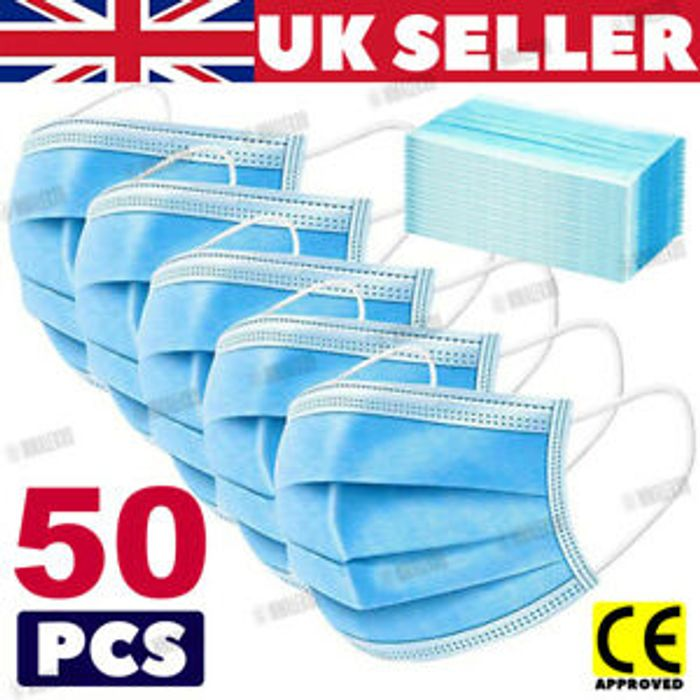 50 Face Mask Surgical Disposable Mouth Guard Cover Face Masks